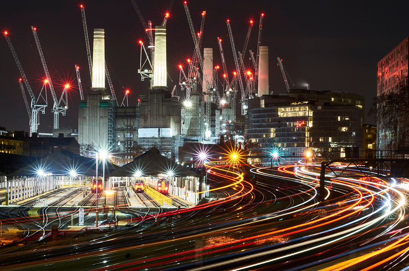 """Light Trails at Battersea Power Station"""