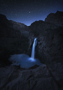 Havasau Falls at Night