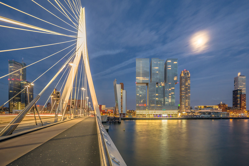 The Netherlands, Rotterdam - View over the Erasmus bridge