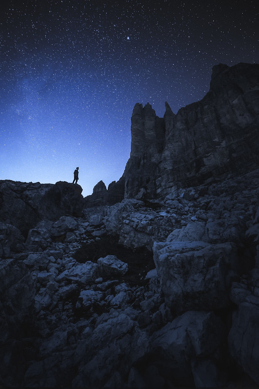 Person under the Stars at Tre Cime in the Dolomites, Italy