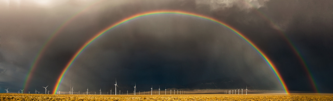 Wind Turbines Under a Double Rainbow