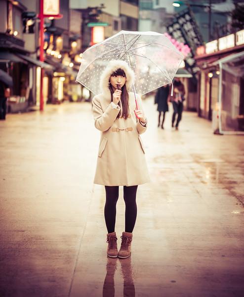 Japanese Girl In The Rain