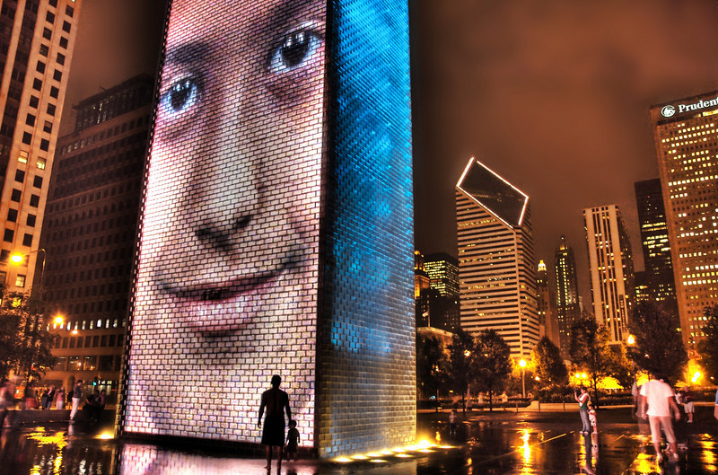 """<h2>The Neo Monoliths of Chicago</h2> <br/>After my meeting I headed downtown to see the new Millennium Park that recently opened.  It was incredibly surreal and awesome.  Here is a nice shot I grabbed... these are video walls that cycle in and out different pictures.<br/><br/>- Trey Ratcliff<br/><br/><a href=""""http://www.stuckincustoms.com/2007/06/14/a-silent-bridge-to-the-city/"""" rel=""""nofollow"""">Click here to read the rest of this post at the Stuck in Customs blog.</a>"""