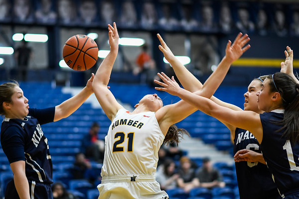 TORONTO, CANADA - Feb 07: during OCCA Womens Basketball Matchup between Humber Hawks vs Niagara Knights at Humber Hawks Athletics Center. Photo: Michael Fayehun/F10 Sports Photography