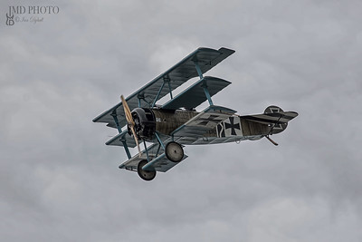 Fokker Dr1 Triplane of the Bremont Great War display team flying at the first Great Yarmouth free airshow