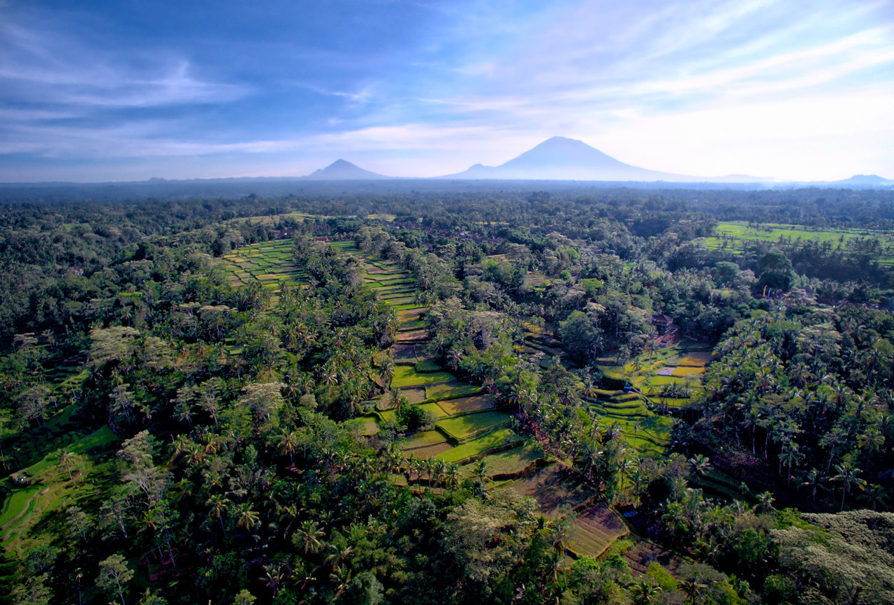 The Volcanoes In Bali From Above
