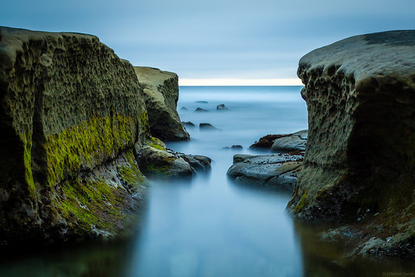 "Hospital Reef (""potholes"") in La Jolla, using a neutral density filter right before sunset."