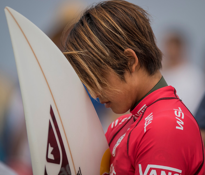 This is Hiroto Ohhara about to compete in the Vans 2015 US Open of Surfing on Aug. 2, 2015 in Huntington Beach, Calif. Ohhara is meditating before Heat 1 of the final, who then took first place and became the first Japanese surfer to win the US Open of Surfing.(© Erica Jacques 2016)