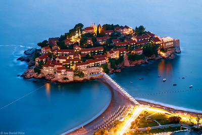 Night, Sveti Stefan, Montenegro