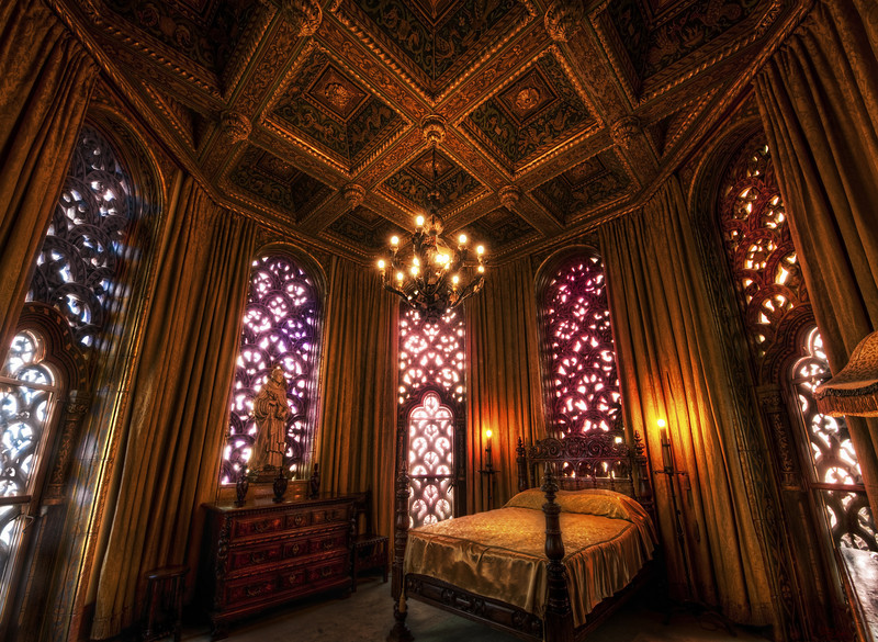 "<h2>Isabella's Jewel Box</h2> <br/>Up high, in one of the tallest towers of all the land, in the highest castle by the sea, sits a perfect bedroom, and it shines like the inside of a floating jewel box.<br/><br/>This amazing place is in one of the two peak towers atop Hearst Castle.  Getting up into these rooms via tiny, twisting stairways is not the easiest thing in the world.  The paths in and out of these bedrooms are almost so serpentine that they seem secret.  When I was inside, I felt like I was one of the few people in the world to ever experience it.<br/><br/>- Trey Ratcliff<br/><br/><a href=""http://www.stuckincustoms.com/2010/08/11/isabellas-jewel-box/"" rel=""nofollow"">Click here to read the rest of this post at the Stuck in Customs blog.</a>"