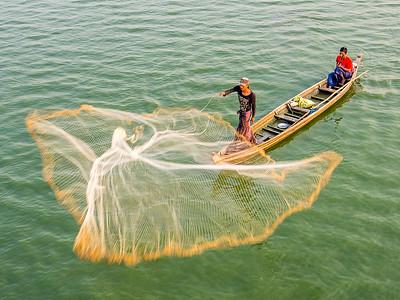 Fishermen on Taungthaman Lake, Amarapura Myanmar.