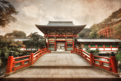 The Yutoku Inari Shrine This is a pretty epic location in Southern Japan. And it's not that old surprisingly. For this photo I used an HDR processing technique mixed with texture blending to give it a gritty aged look.  Read more about the Yutoku Inari Shrine at AlikGriffin.com
