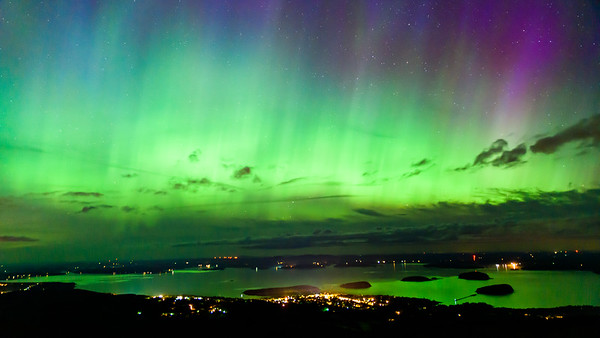 Aurora above Bar Harbor