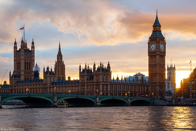 Golden Sunset over Big Ben, Westminster, London, England