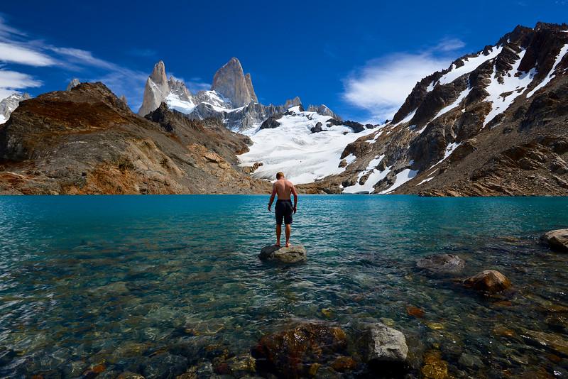 Glacier Lake Swimming - Mt Fitzroy El Chalten Patagonia Chile