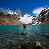 Glacier Lake Swimming - Mt Fitzroy El Chalten Patagonia Chile