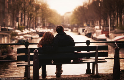 Couple Sitting on a Bench, The Canals, Jordaan District, Amsterdam, Holland