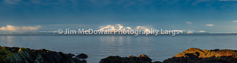 Winter Snow on the Isle Arran from Seamill Scotland