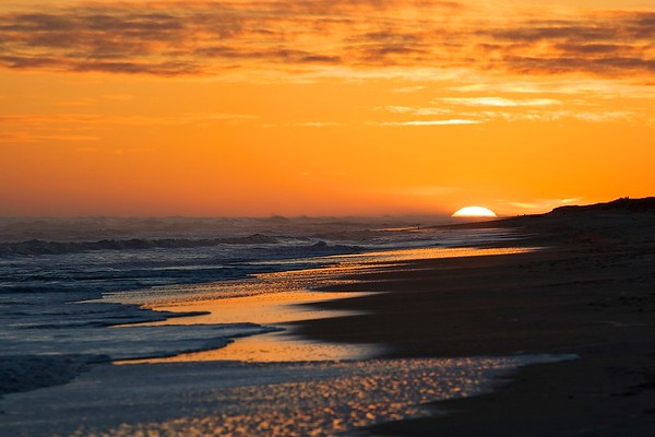 january sunset, atlantic beach