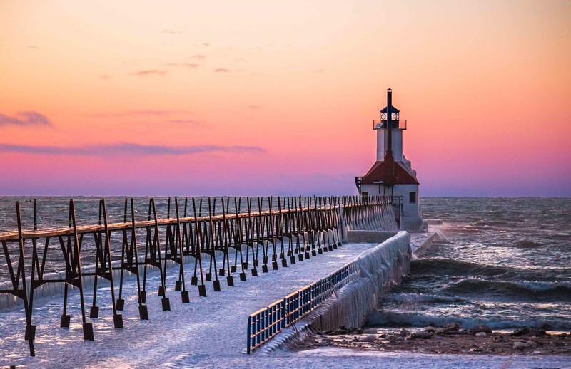 Post sunset view of the Saint Joseph North Pier Inner Lighthouse