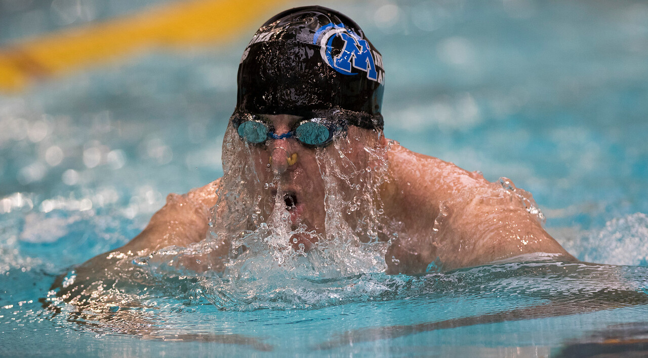 On July 9, 2015, at the National Senior Games Association competition in Freeman, Minn, swimmer John Griffin is at the University of Minnesota doing the 50 yard breast stroke. Photo by Erica Jacques @2015)