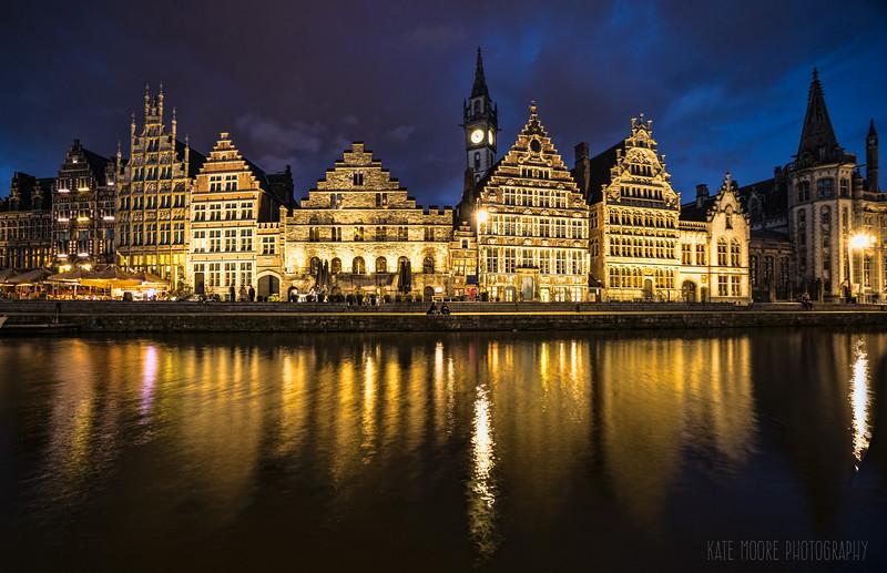 Ghent, Belgium at twilight