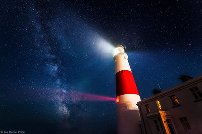 Portland Bill Lighthouse at night with the Milky Way, Portland, Dorset, England