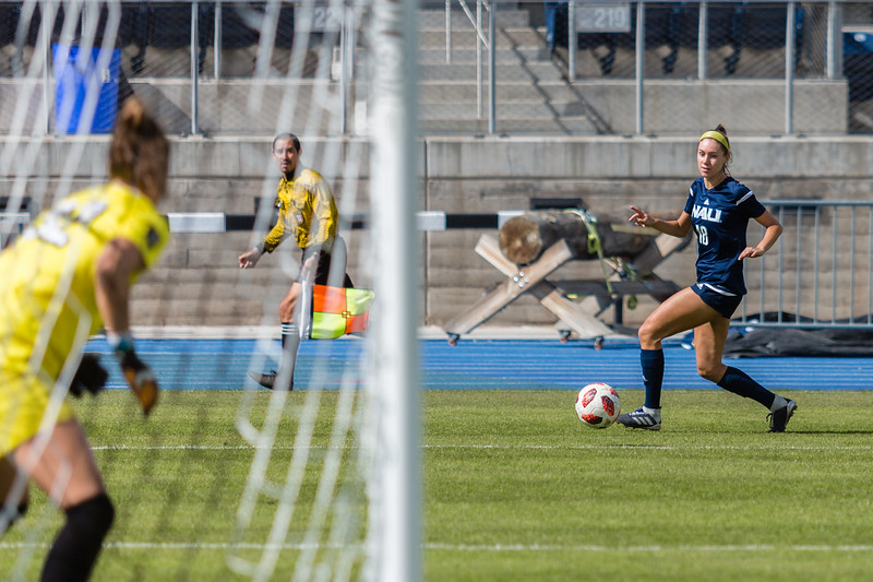 John Chaides / Lumberjack<br /> Northern Arizona University's Tatum Heeres (18) takes aim at the goal during a Big Sky Conference soccer match against the University of Idaho at Max Spilsbury on Sunday, October 21, 2018.