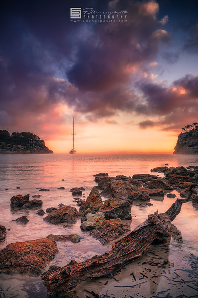 Cala Portals Vells with sailboat in Mallorca