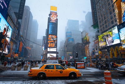Yellow Cab, Snowing, Times Square, New York City, New York, America