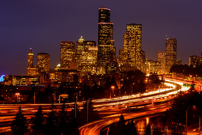Downtown Seattle after dark