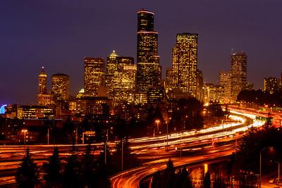 Downtown Seattle after dark