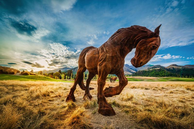 "<h2>Wild Horses in Queenstown</h2> <br/>This is Max Patte's latest creation. I saw them by accident while I was playing golf at The Hills here. I came over the hill to this little par 3 and I thought they were real! I was so shocked… it was a very strange reaction, actually. I'll never forget it. It was surreal… and I love that feeling of not knowing if something is real or fantasy, and really getting lost, even if just for a moment.<br/><br/>- Trey Ratcliff<br/><br/><a href=""http://www.stuckincustoms.com/2013/04/11/wild-horses-in-queenstown-by-max-patte/"" rel=""nofollow"">Click here to read the rest of this post at the Stuck in Customs blog.</a>"