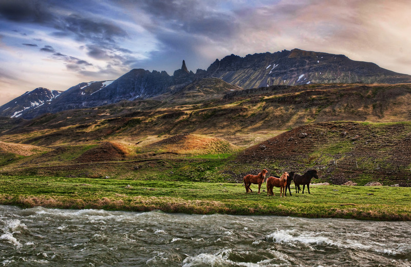 "<h2>The Impossible Mountains</h2>  <br/>The mountain is very spiky and narrow, and it's embedded in a very rough patch of peaks.<br/><br/>So I did my best to capture it in context. There are great super-hairy horses everywhere, and four of them were playing on one side of the river. I set up… and waited…waited…waited…. for them to get in the right spot and then finally took a photo.<br/><br/>- Trey Ratcliff<br/><br/><a href=""http://www.stuckincustoms.com/2010/06/15/the-edge-of-the-farm/"" rel=""nofollow"">Click here to read the rest of this post at the Stuck in Customs blog.</a>"