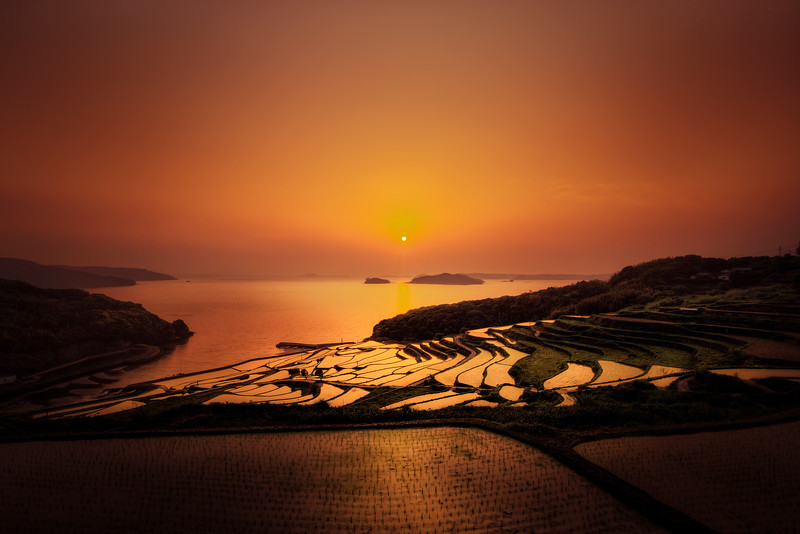 Sun setting at the rice field terrace of Saga Japan.