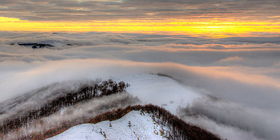 Sunrise above the clouds, Bulgaria