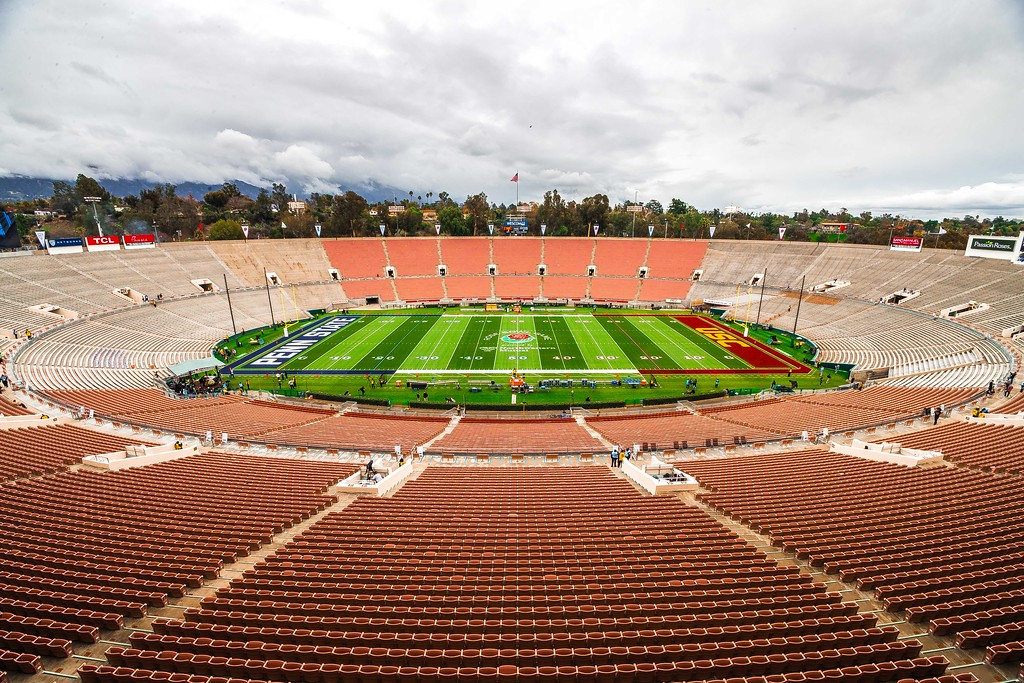 An empty Rose Bowl in Pasadena, California before the 103rd playing of the Game.