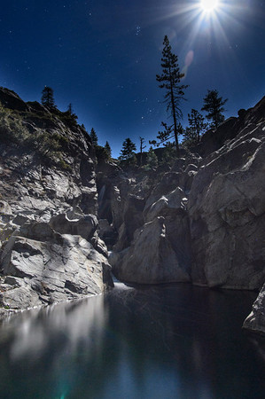 Upper Canyon Creek Falls under the Summer Moon