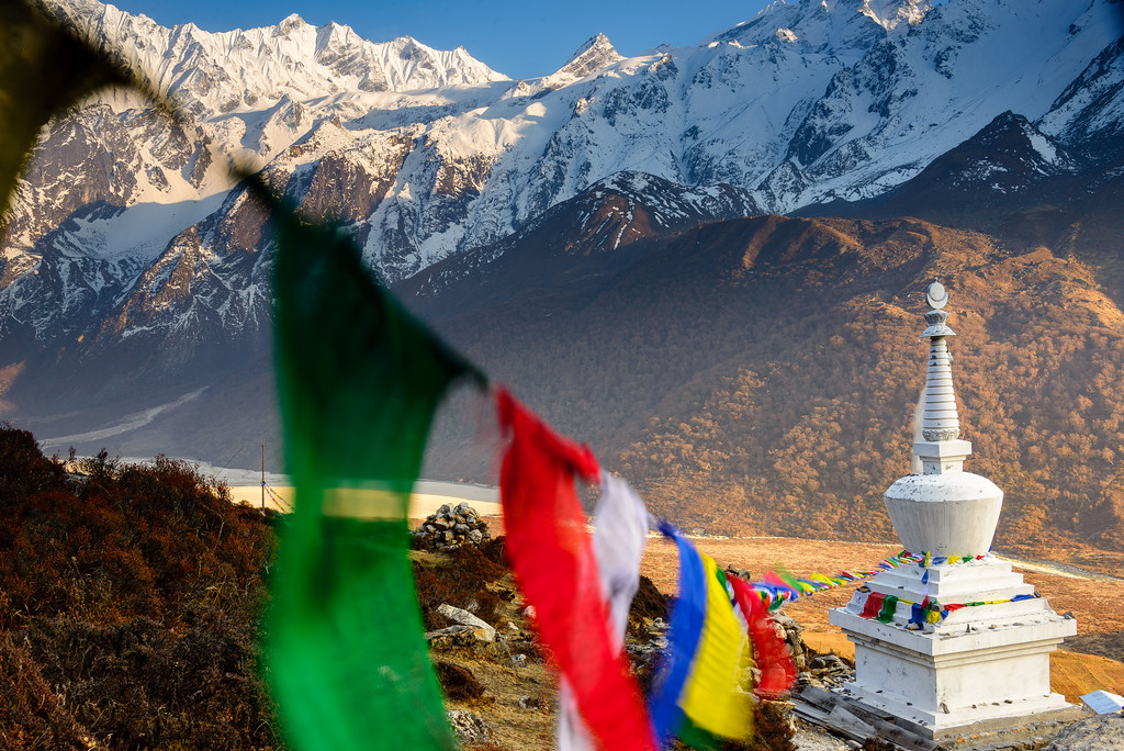 Stupa with prayer flags, Langtang Valley, Nepal