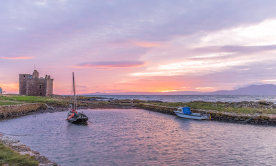 Portencross Castle & Two Boats Ayrshire Scotland.