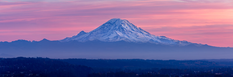 Mt. Rainier panorama at sunset