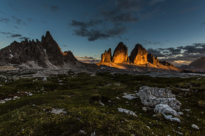 Last light at the Tre Cime di Lavaredo