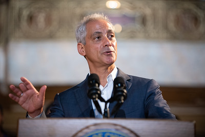 Mayor Rahm Emanuel speaks inside the Uptown Theatre on June 29, 2018. | Colin Boyle/Sun-Times