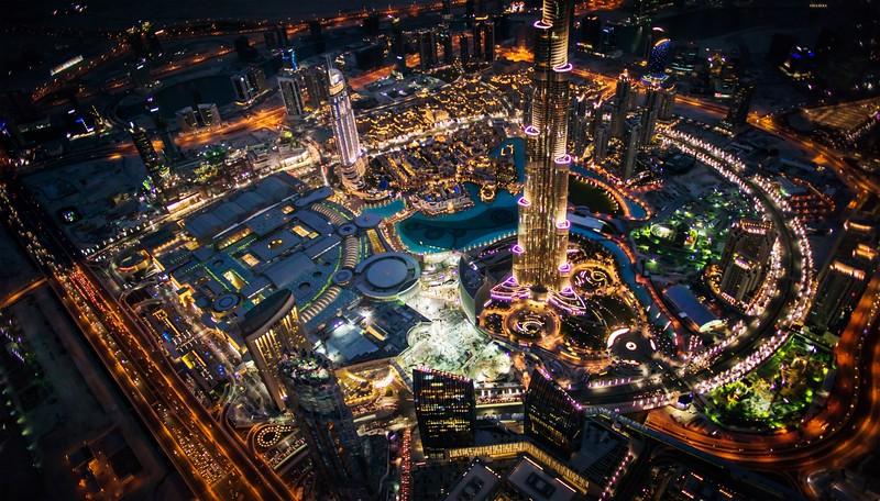 Flying over Dubai at Night