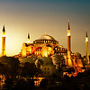 The Hagia Sophia at sunset.