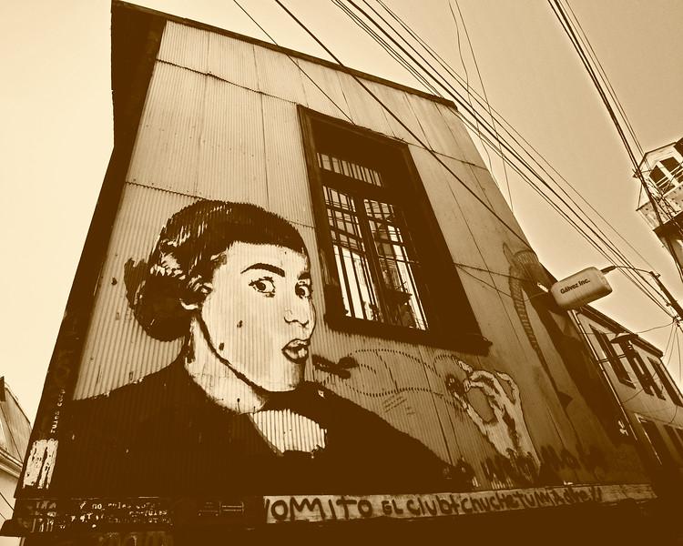 Valparaiso Street Art - Valparaiso Chile South America Sepia
