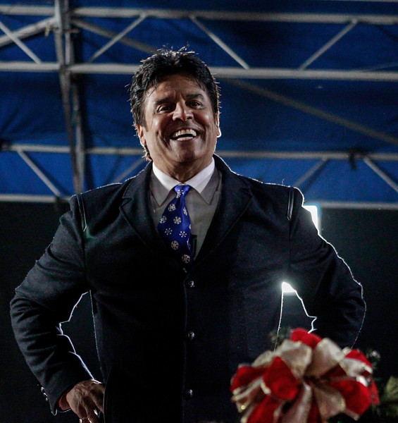 John Chaides / Courier<br /> Erik Estrada, one of the parade hosts, stands on the host's stage after the Hollywood Christmas Parade on Sunday, November 26, 2017. The other hosts included Laura McKenzie, Dean Cain, and Montel Williams with special guest host Elizabeth Stanton and Garrett Clayton.