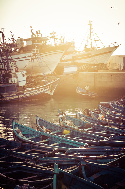 Beautiful Blue Boats in Essaouira, Morocco