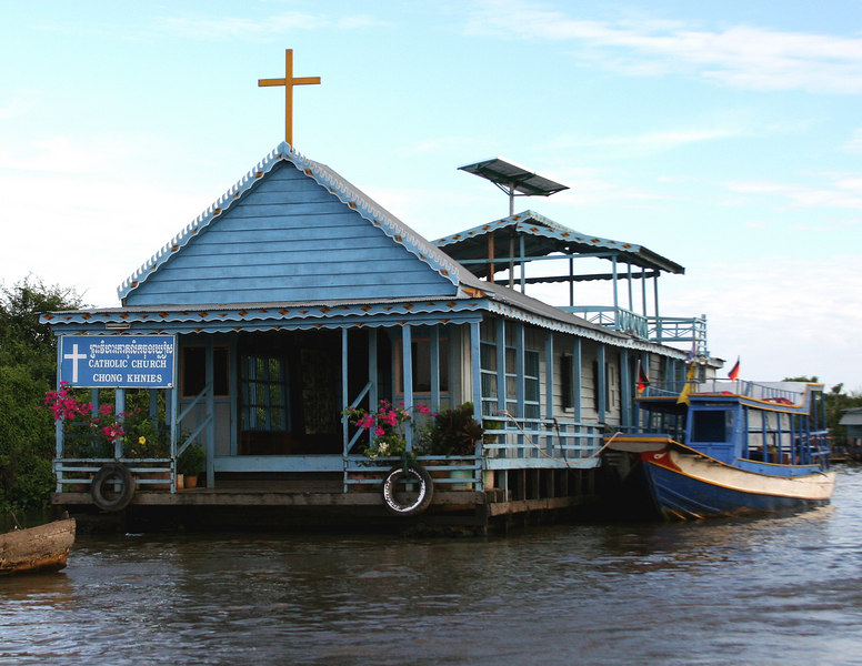 Siem Reap, Cambodia. Floating village. A church is part of the floating village on Tonle Sap Lake