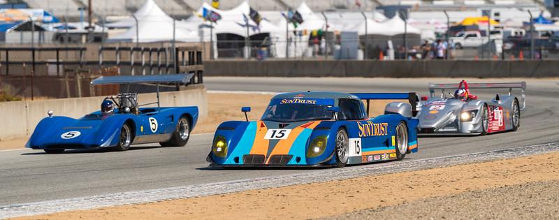 Riley Scott Mark XI and R8 passing Jim Gallucci in Lola 163